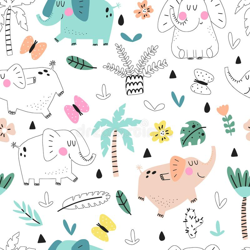 Seamless pattern with cute elephants vector illustration