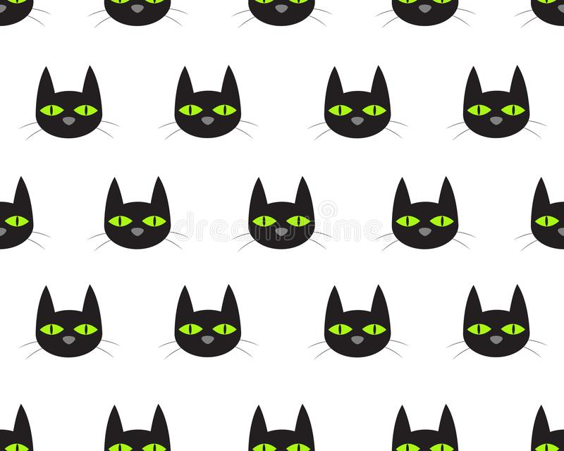 Seamless pattern of cute face black cat. On white background vector illustration