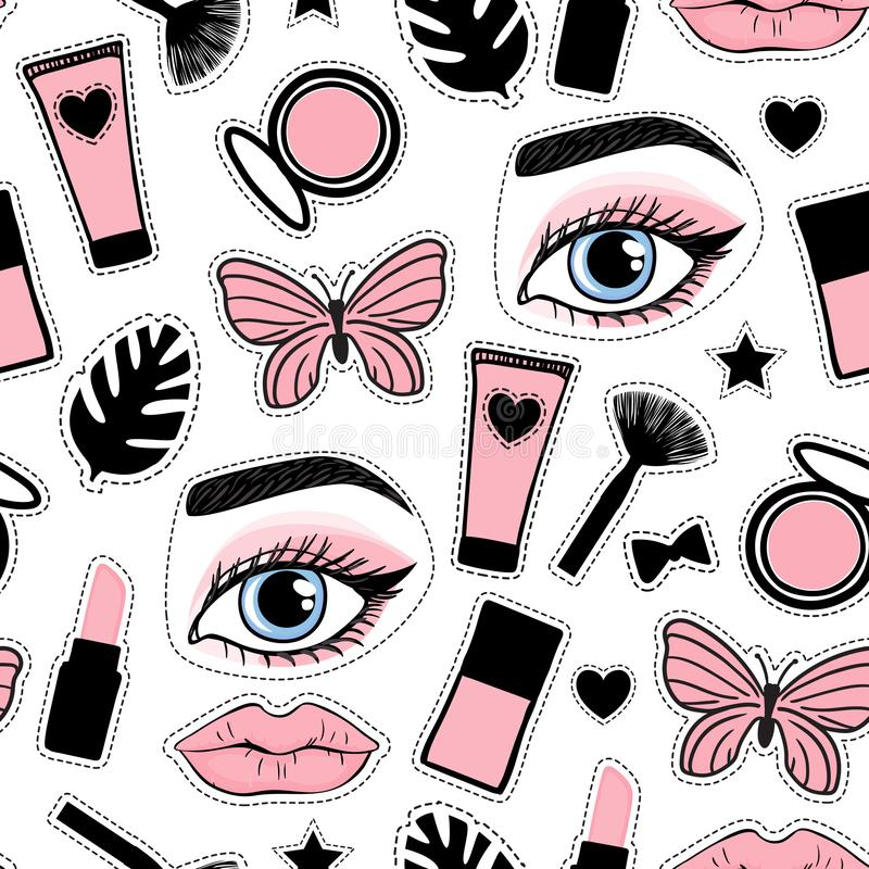 Seamless pattern fashion style. Abstract beauty makeup face hand drawing. Vector illustration is isolated on a white background. royalty free illustration