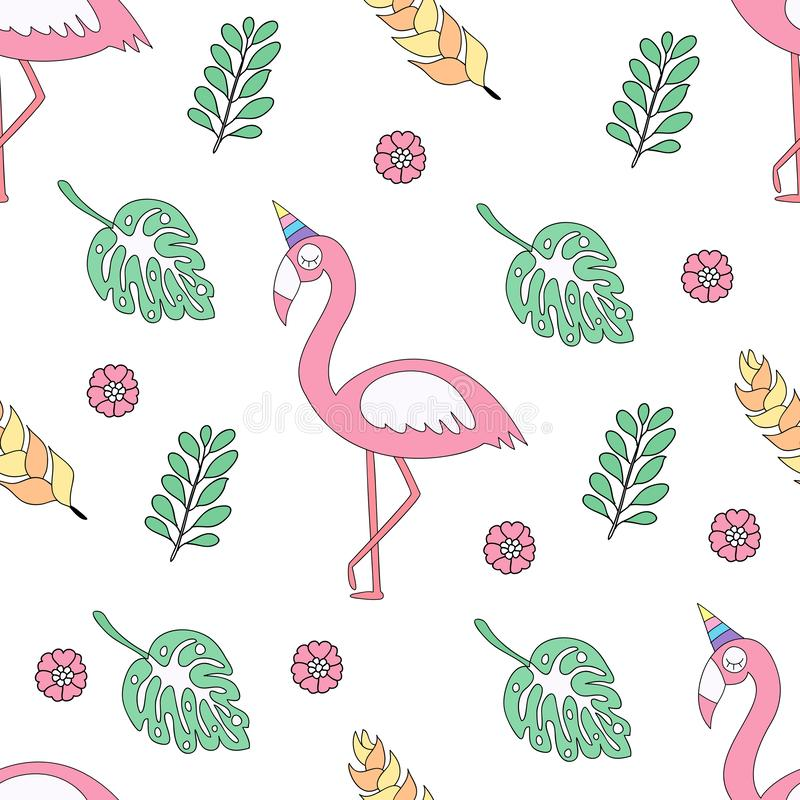 Seamless pattern cute flamingo cartoon hand drawn style. vector illustration