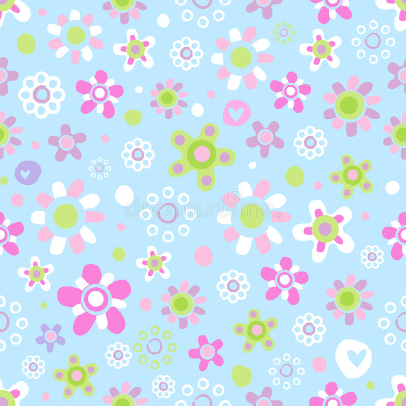 Seamless pattern with cute flowers. stock illustration