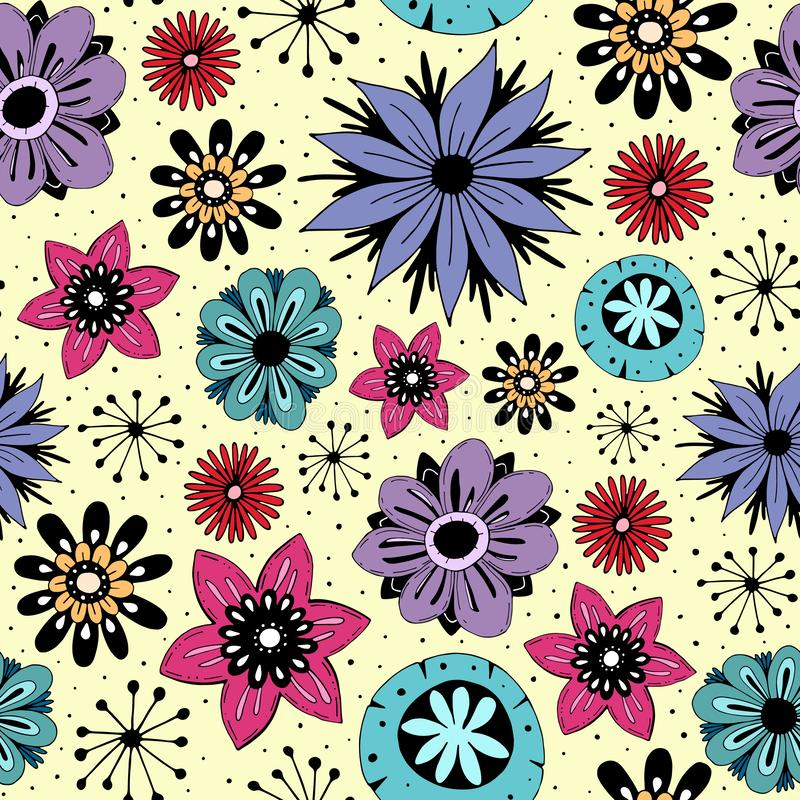 Seamless pattern with cute flowers vector illustration