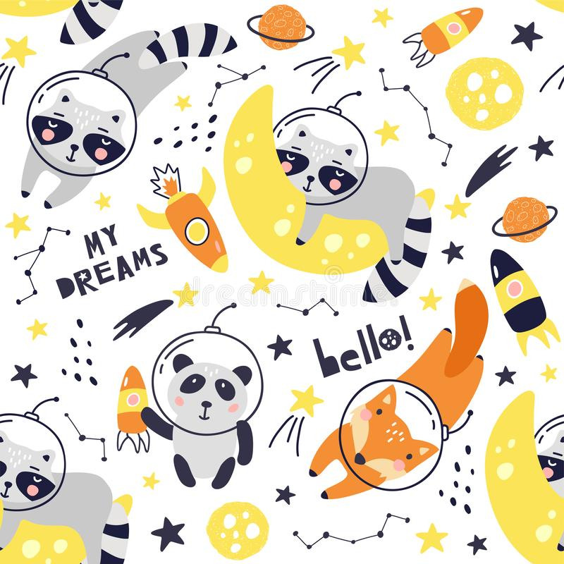 Seamless pattern with cute fox astronaut, raccoon, panda, planets, stars and comets. Space Background for Kids. Animals in outer stock illustration