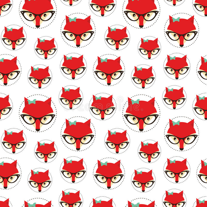 Seamless pattern with cute fox. royalty free illustration