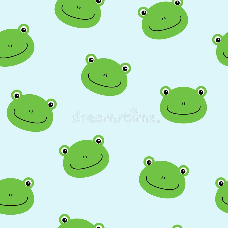 Seamless pattern with cute frogs. Vector background for kids stock illustration