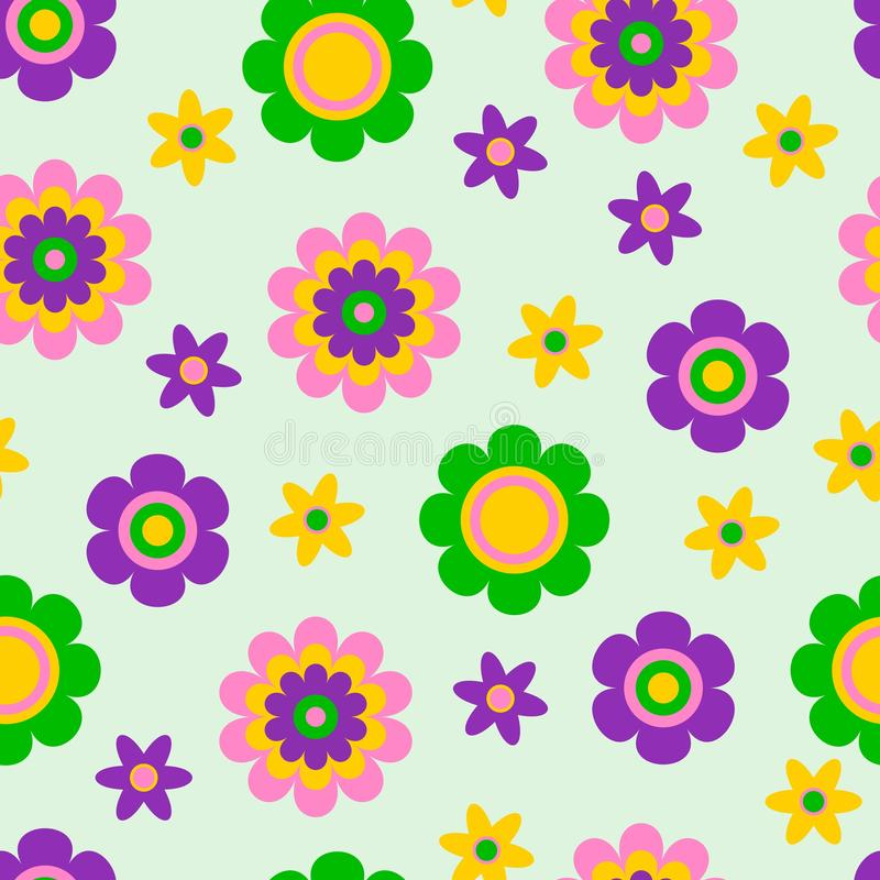 Seamless pattern with cute funny cartoon flowers and herbs. The good choice for childrens accessories, fabric and other stock illustration