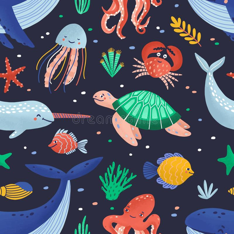 Seamless pattern with cute funny marine animals or happy underwater creatures living in sea. Ocean fauna. Flat cartoon stock illustration