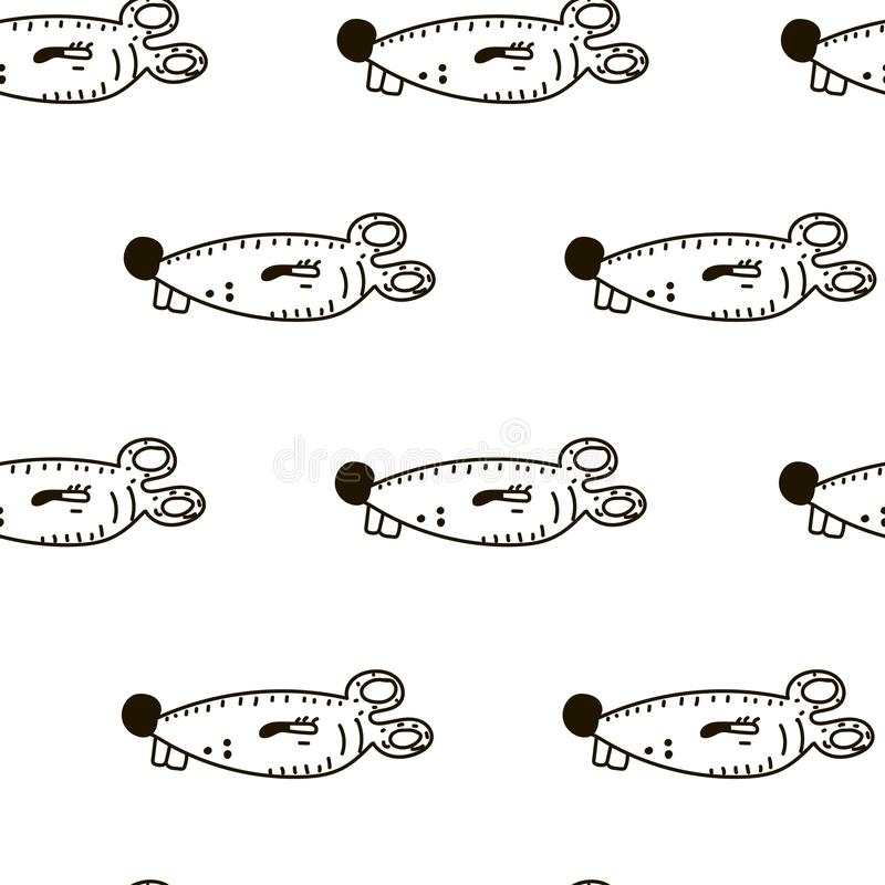 Seamless pattern with cute funny mice. Vector illustration in sketch style royalty free illustration