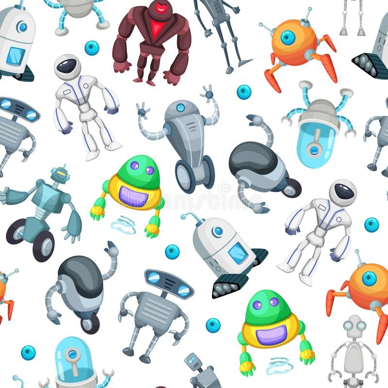 Seamless pattern with cute funny robots. Vector pictures in cartoon style vector illustration