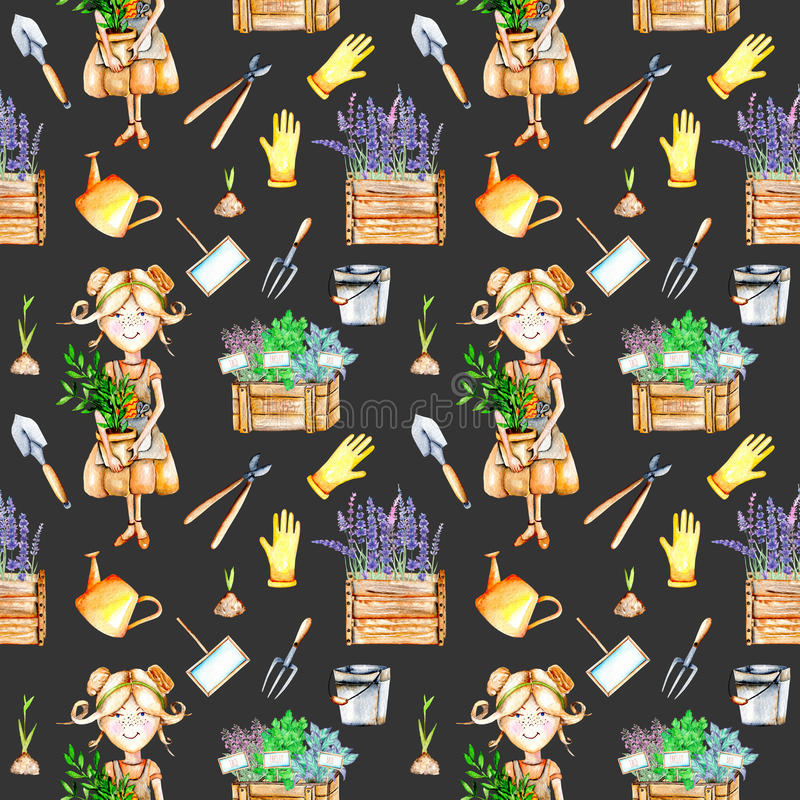 Seamless pattern with cute Gardener girl and garden tools illustrations royalty free illustration