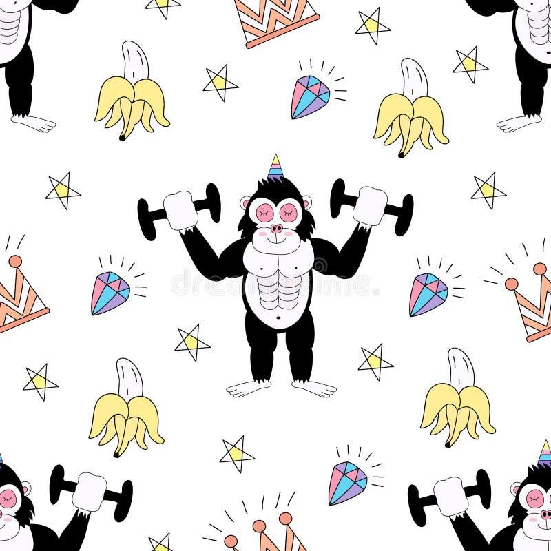 Seamless pattern cute gorilla cartoon hand drawn style. stock illustration