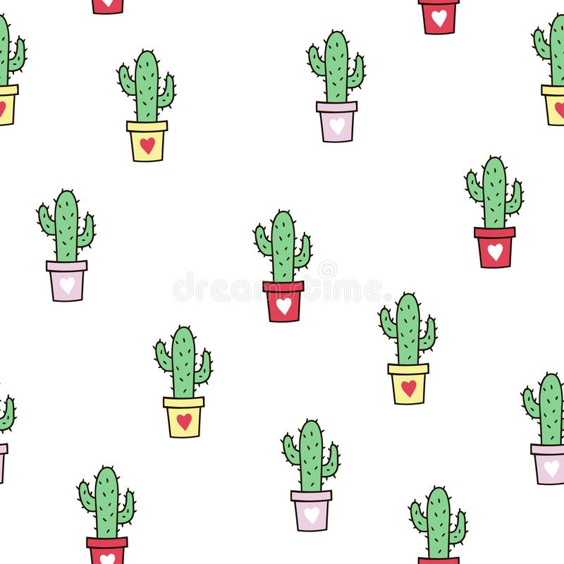 Seamless pattern with cute green cacti. stock photography