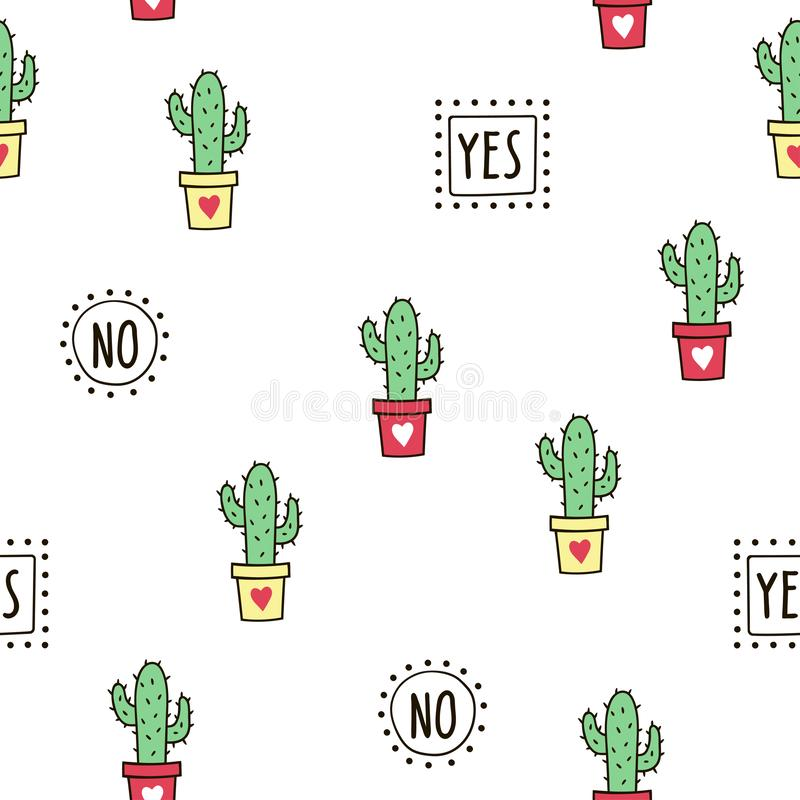 Seamless pattern with cute green cacti and words. stock images