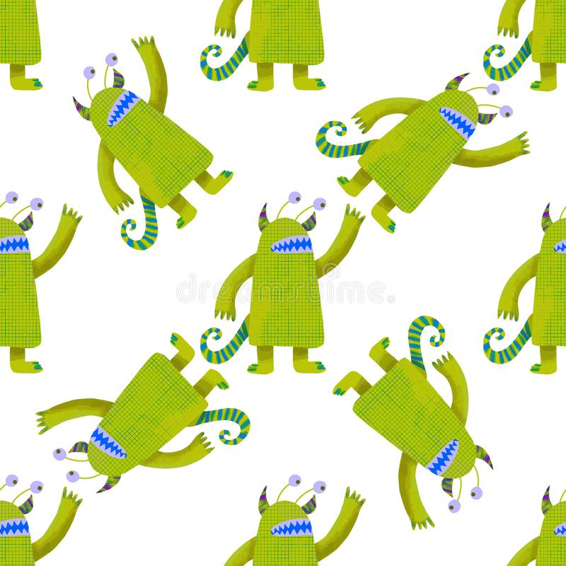 Seamless pattern cute green monsters. Kids graphic illustration. Wallpaper, wrapping paper. Graphic design element. Cartoon style vector illustration