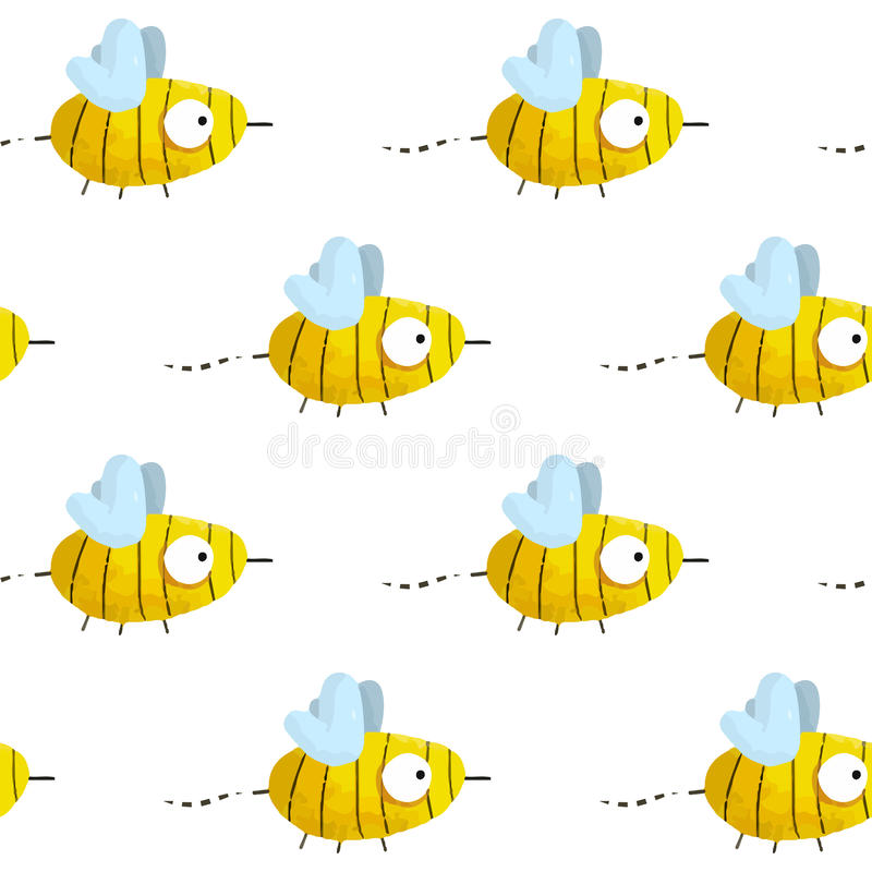Seamless pattern with cute hand-drawn bees. On white background vector illustration