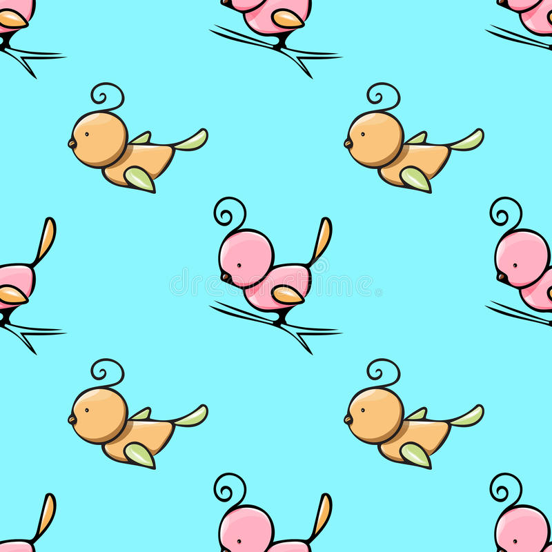 Seamless pattern with cute hand drawn birds royalty free stock photo