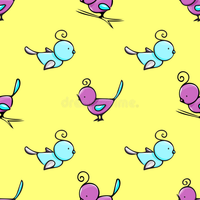 Seamless pattern with cute hand drawn birds royalty free stock image