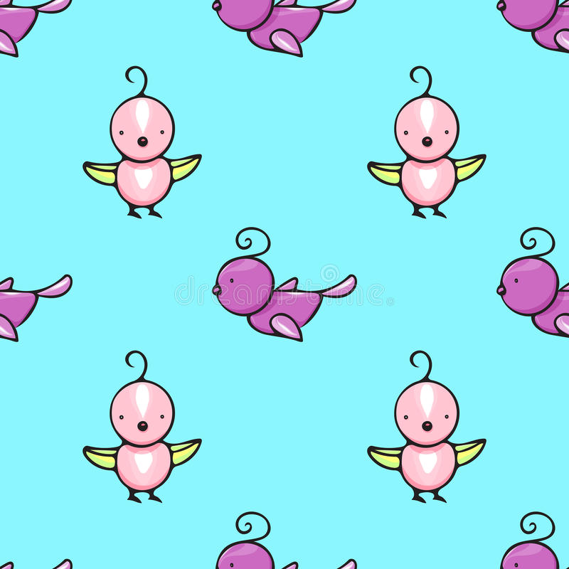 Seamless pattern with cute hand drawn birds royalty free stock images