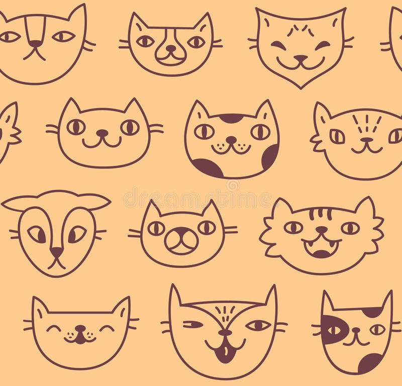 Seamless pattern with cute hand drawn cat faces on peach color background stock photo