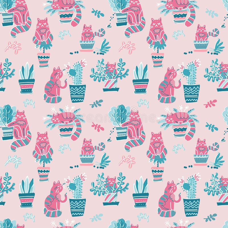 Seamless pattern with Cute hand drawn cats in different poses with plant pots. Vector flat doodle Scandinavian cartoon character. royalty free illustration