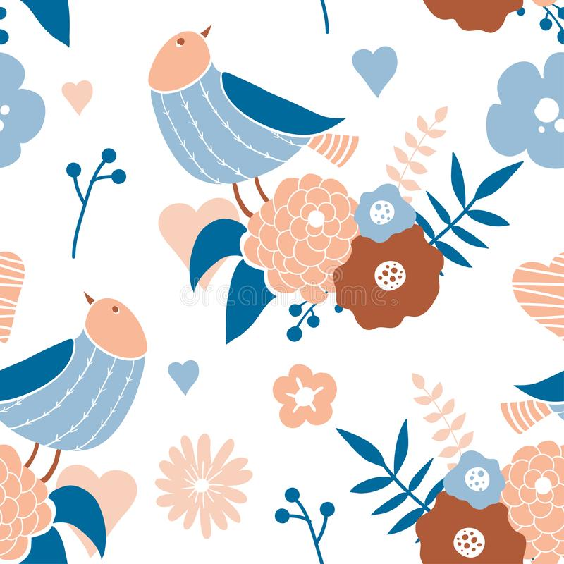 Seamless pattern with cute hand drawn doodle birds stock illustration