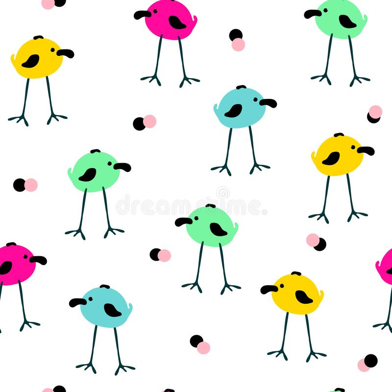 Seamless pattern with cute hand drawn doodle birds vector illustration