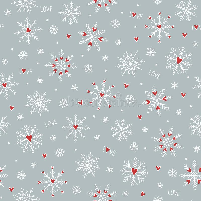 Seamless pattern with cute hand drawn snowflakes and little red hearts vector illustration