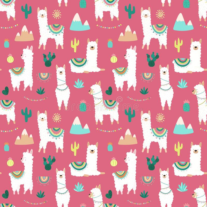 Seamless pattern of cute hand-drawn white llamas or alpacas, cacti, mountains, sun, garlands on a pink background. Illustration fo vector illustration