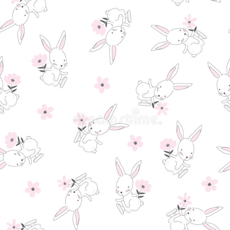 Seamless pattern of cute white bunnies royalty free illustration