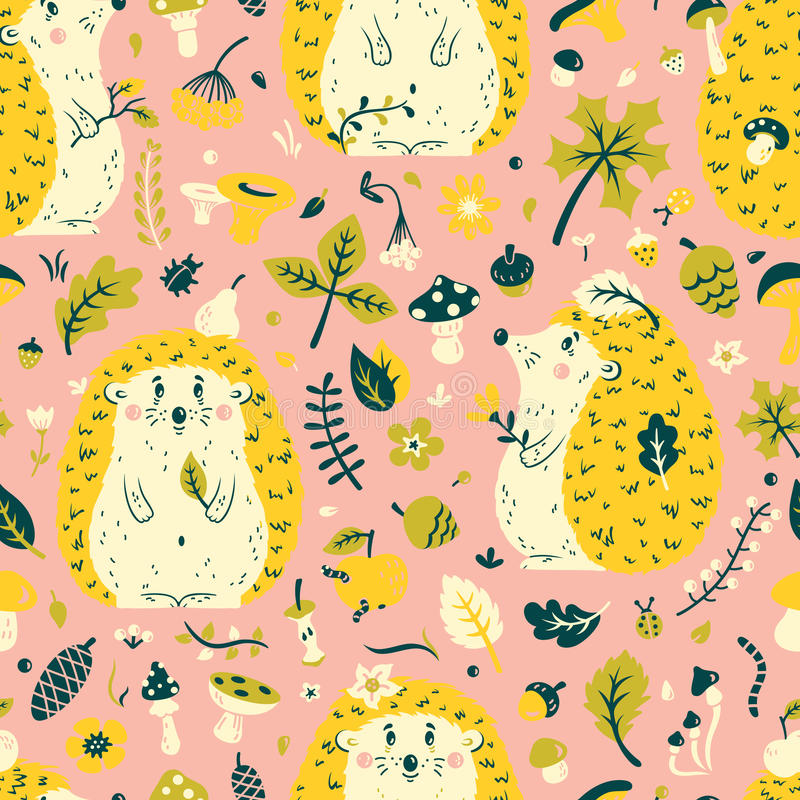 Seamless pattern with a cute hedgehog among the leaves, cones, berries, flowers and mushrooms stock image