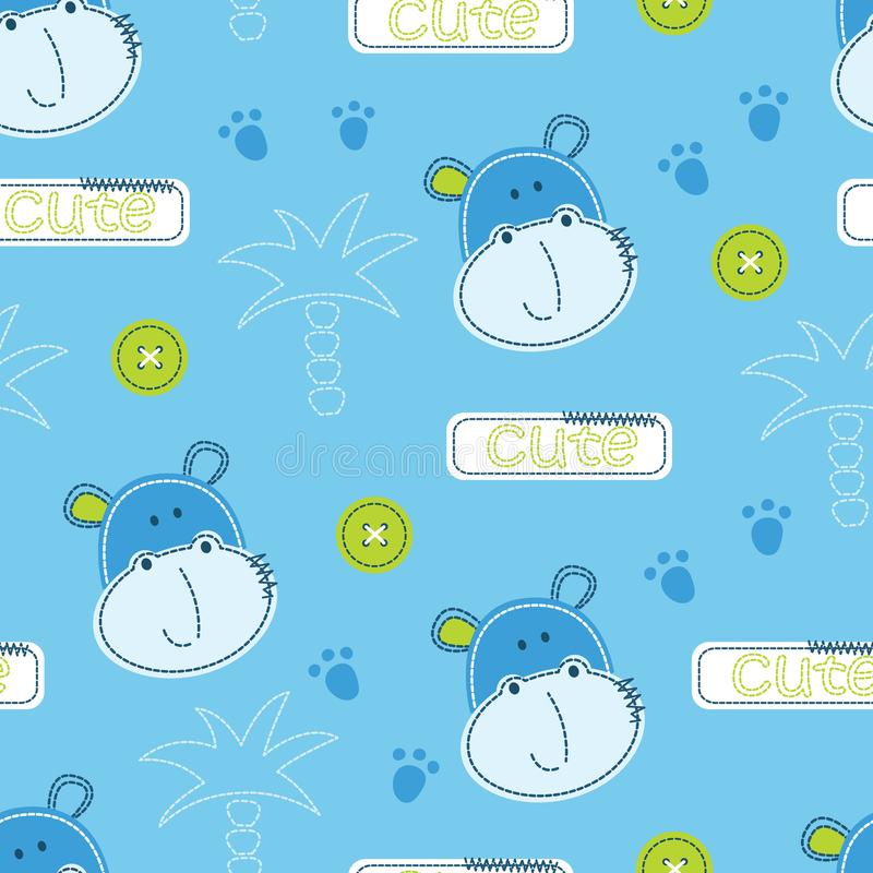 Cute hippo and palms seamless pattern vector illustration