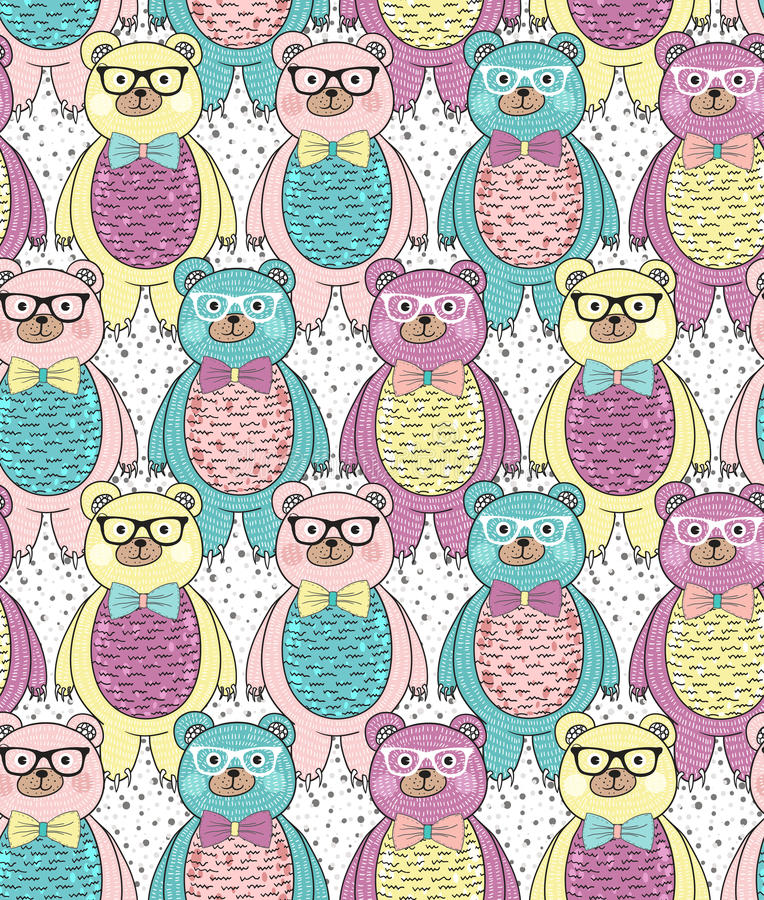 Seamless pattern with cute hipster bears stock illustration