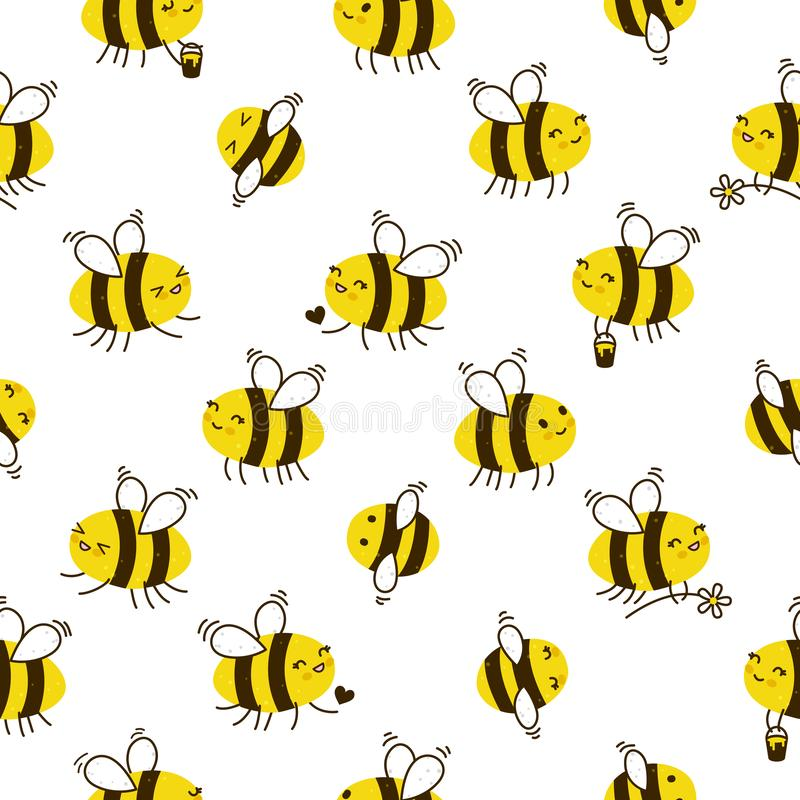 Seamless pattern with cute bees. Seamless pattern with cute honey bees stock illustration