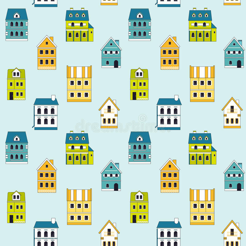 Seamless pattern of cute houses. stock illustration