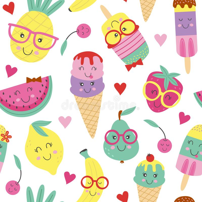 Seamless pattern with cute ice cream and fruits royalty free illustration