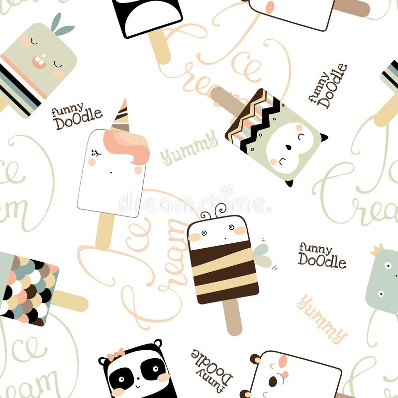 Seamless pattern with cute funny ice cream. Doodle vector illustration vector illustration