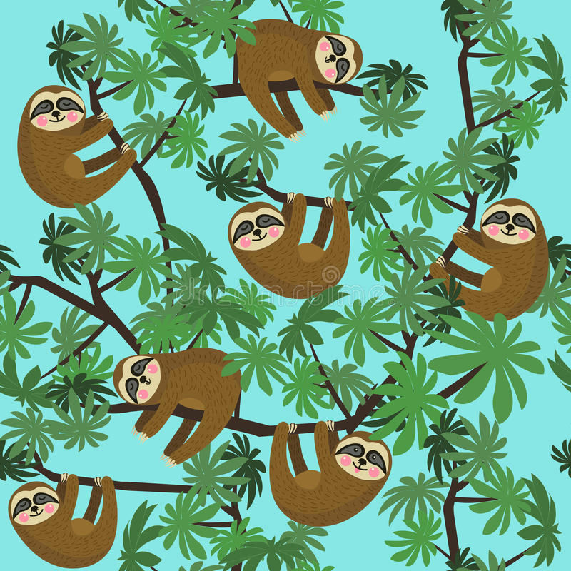Seamless pattern with cute jungle sloths on blue background, vector illustration. vector illustration