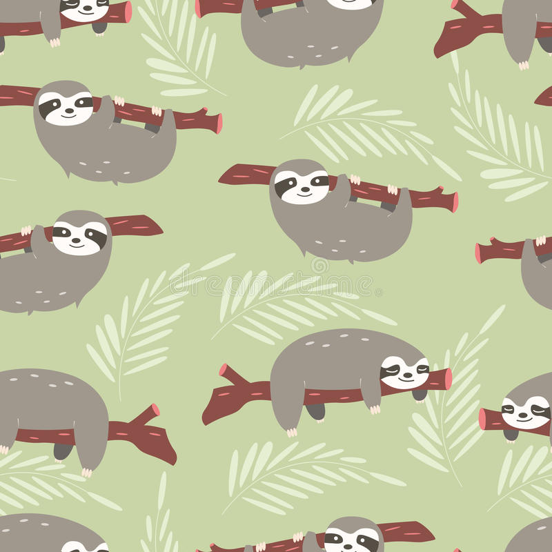 Seamless pattern with cute jungle sloths on green background vector illustration