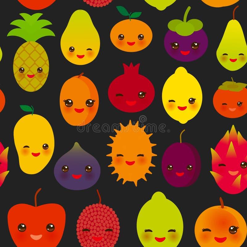 Seamless pattern cute kawaii fruit Pear Mangosteen tangerine pineapple papaya persimmon pomegranate lime apricot plum dragon fruit vector illustration