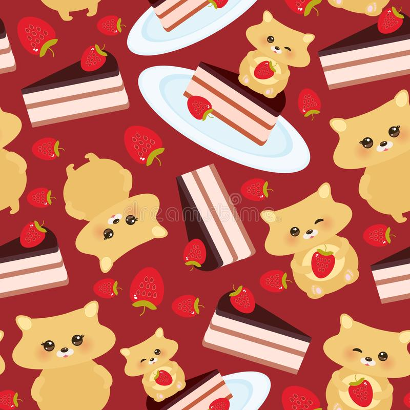 Seamless pattern cute kawaii hamster with fresh Strawberry, cake decorated pink cream and chocolate icing, piece of cake on the bl. Ue plate, pastel colors on royalty free illustration