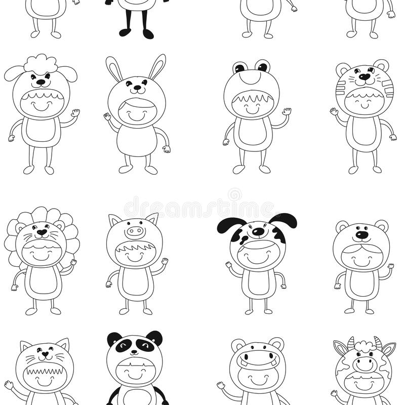 Seamless pattern with cute kids wearing animal costumes. Seamless vector pattern with cute kids wearing animal costumes vector illustration