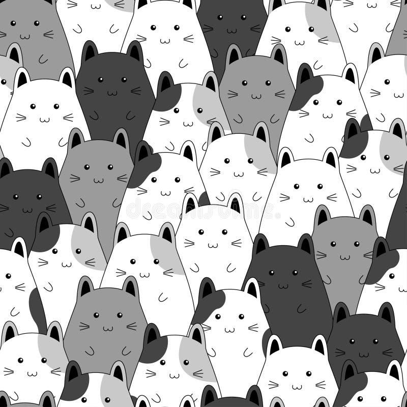 Seamless pattern with cute kitten family cartoon. Vector illustration stock illustration
