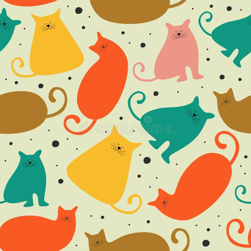 Seamless pattern with cute Kittens cat in different style scandinavian drawing. Creative childish texture. Great for fabric,. Textile Vector Illustration stock illustration