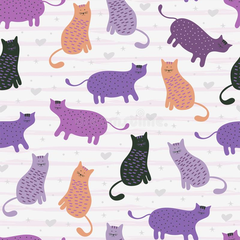 Seamless pattern with cute Kittens cat in different style scandinavian drawing feminine colors. Creative childish texture. Great. For fabric, textile Vector vector illustration