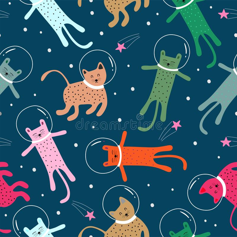 Seamless pattern with cute Kittens cat in different style on space scandinavian drawing. Creative childish texture. Great for vector illustration