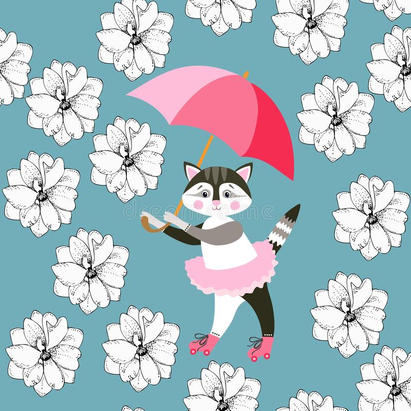 Seamless pattern with cute kitty, pink umbrella and delphinium flowers on blue background. Print for fabric, wallpaper. Greeting card stock illustration