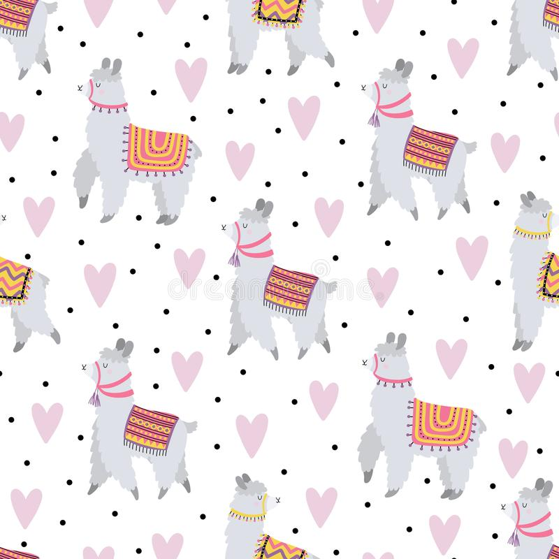 Seamless pattern with cute lamas in love stock photo