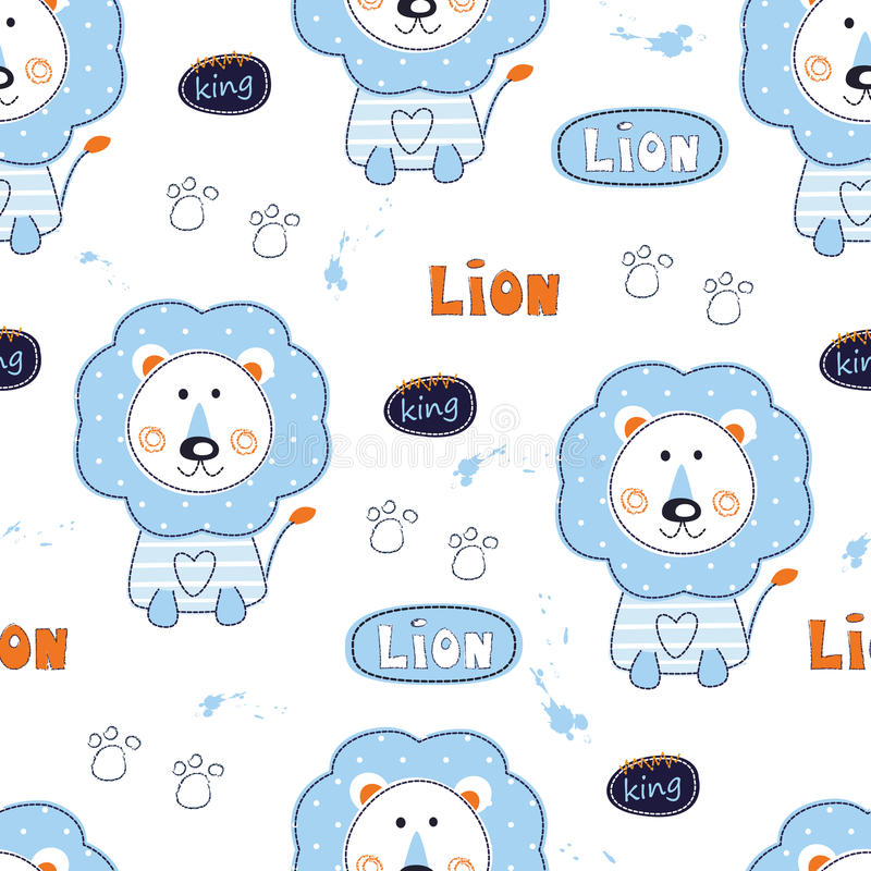 Seamless pattern with cute lions vector illustration