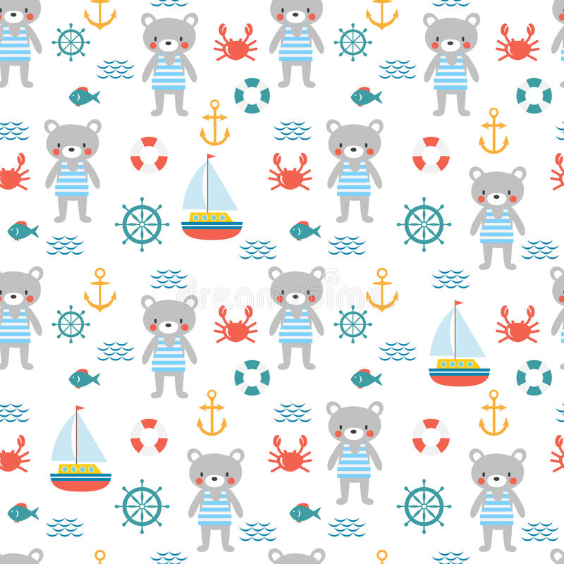 Seamless pattern with cute little bear sailor. vector illustration