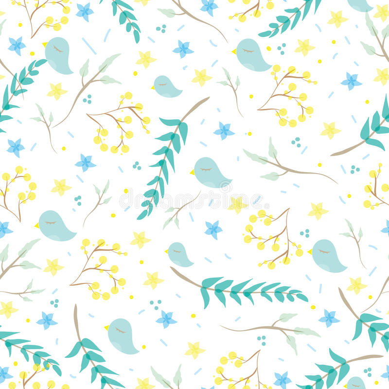 Seamless Pattern With Cute Little Birds, Branches, Flowers, Leaves ...